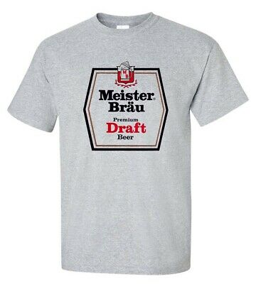 Meister Brau T-shirt classic 1970s beer gray cotton blend retro graphic tee