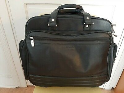Rolling Laptop Bag Black Leather Wheeled Business Briefcase Carry On BEAUTIFUL!!