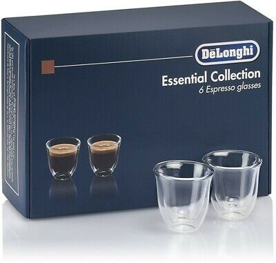 Delonghi Set 6 Cups Thermal Coffee Glass Borosilicate double wall 60ml