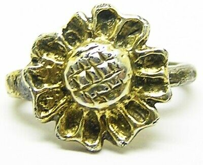 Wonderful Medieval / Tudor silver gilt hat badge of a rose intact old collection