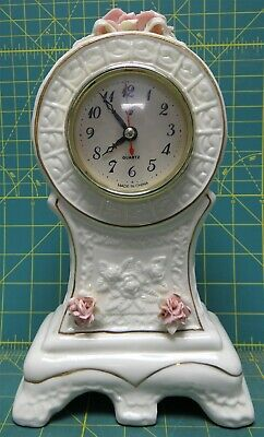 """White Porcelain Shelf Mantle Clock w/Intricate Floral and Gold Details 10 x 6"""""""