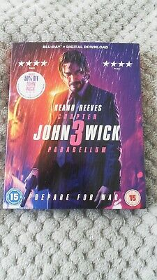 JOHN WICK 3  PARABELLUM  BLU RAY used + DIGITAL DOWNLOAD. Keanu Reeves.