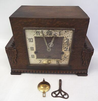 Vintage Wooden MANTLE CLOCK With Pendulum & Key - Spares/Repairs - BB4