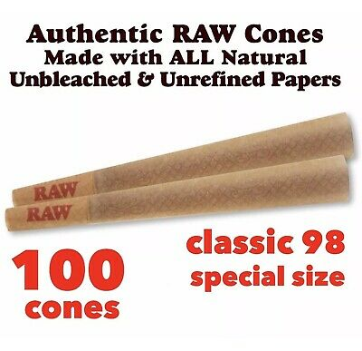 RAW Classic 98 Special Size Cones with Filter ( 100 packs) 100%AUTHENTIC