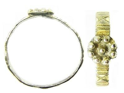 Nice 15th - 16th Late Medieval / Tudor Silver-gilt Rosette Finger Ring Size 11
