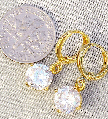 """QUALITY! 14k Gold Plated Clear CZ Cubic Zirconia Earrings 1.2"""" Long"""