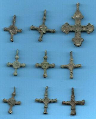 LOT OF 9 Ancient Viking Enamel Bronze Cross Kiev Russia ca 1100 Byzantine 10