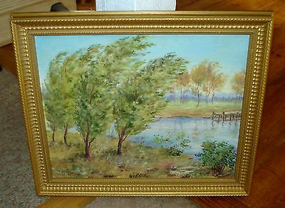 Hazel S. Pearson Signed Oil Impressionist Lake & Tree Landscape Painting c.1940