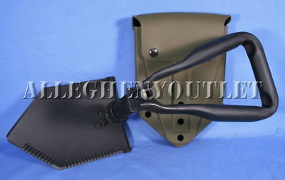 US Military E-Tool Tri-Fold Entrenching Shovel with Olive Drab Cover Surplus VGC