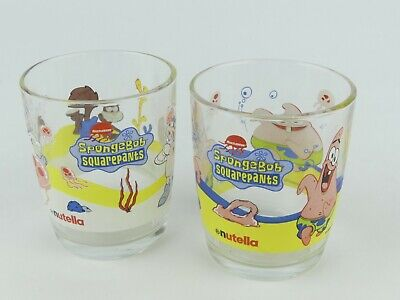 2 x SpongeBob Squarepants Promotional Glasses by Nutella. Excellent Condition.