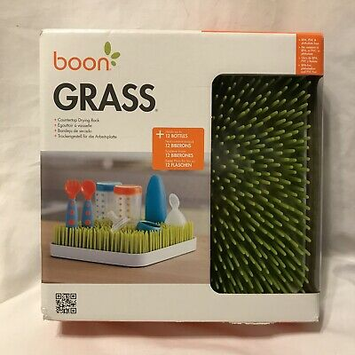 Boon Grass Countertop Drying Rack drip tray Holds 12 Baby Bottles accessories