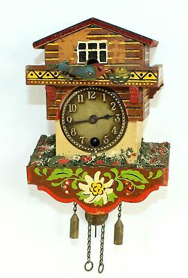 VINTAGE NOVELTY CUCKOO CLOCK with BIRD FEEDING NEST - TB80