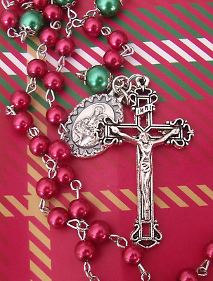 New Red Green Glass Bead Holy Family Medal Christmas Rosary #h