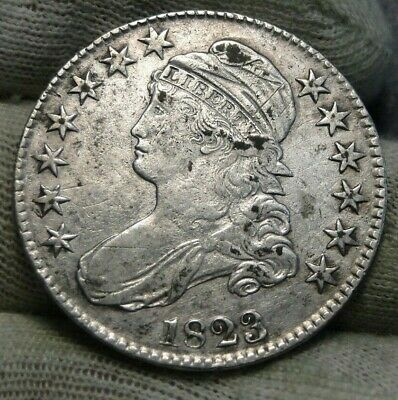 1823 Capped Bust Half Dollar 50 Cents Nice Coin Free Shipping (8693)