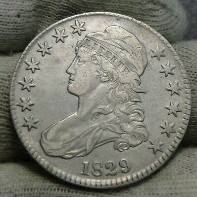 1829 Capped Bust Half Dollar - 50 Cents, Free Shipping Nice Coin  (8700)