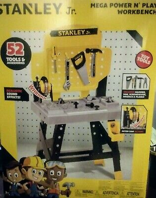 Stanley Jr. Play Workbench Pretend Tools, Toolbelt , and Chainsaw.