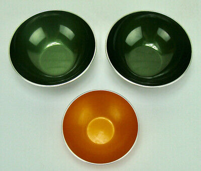 3 Vintage Mid-Century Modern Emalox Norway Green & Orange Bowls