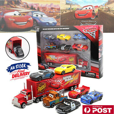 7PCS Pixar Car 3 Lightning McQueen Racer Car&Mack Truck Collection Gift Toys Set