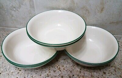 Set of 6 Corelle GARDEN HOME Birdhouse Cereal / Soup BOWLS (Ivory & Green) New!!
