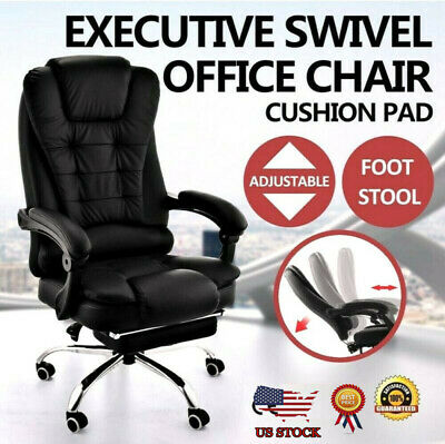 1/5PC Office Chair Gaming Chair Desk Ergonomic Leather Computer Chair Metal Base