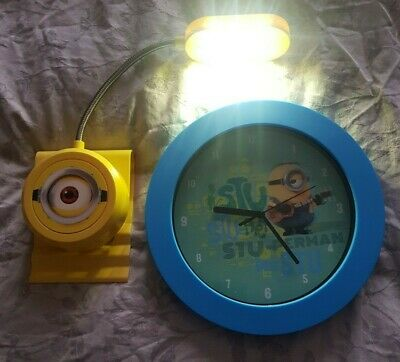 Minions Despicable Me Stuart Wall Clock & Flexible Night Light With Clip