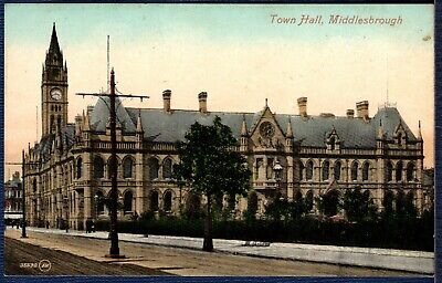 Postcard ~ TOWN HALL in MIDDLESBROUGH MIDDLESBOROUGH ~ Early
