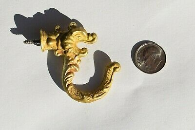 Antique Victorian Era Ornate Small Dragon Face Bronze Wall Door  Keys Hook