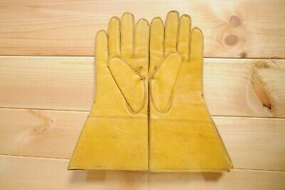 Vintage Leather Gauntlet Gloves Yellow 8 1/2