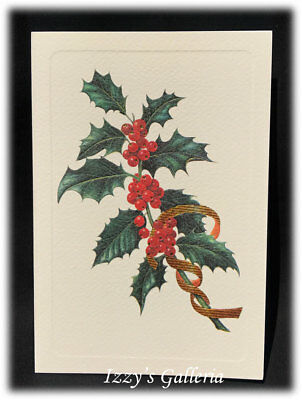 Rossi Fine Italian Stationery Letterpress Holly Berries Christmas Textured Card