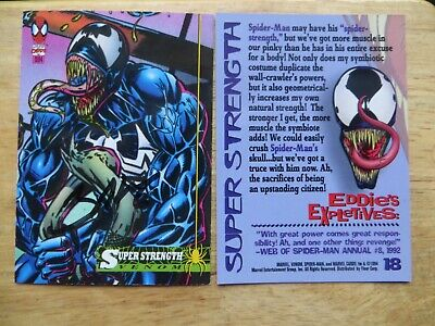 1994 Vintage Fleer Spider-Man Venom Card # 18 Signed Mark Bagley, With Poa
