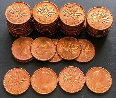 Lot of 50x Brilliant Uncirculated Canada 1964 Small Cent Pennies - MS+++