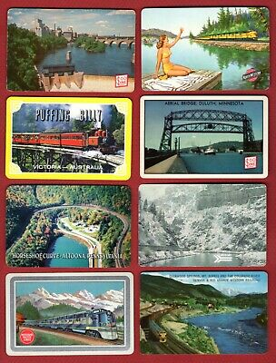 8 Single Swap Playing Cards TRAINS RAILROADS ADS MANY VINTAGE