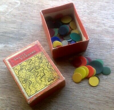 QUANTITY of GAMES COUNTERS, various colours, sizes in old SNAKES & LADDERS BOX