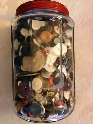 """Antique Buttons Hundreds 7"""" Tall Colorful Antique Jar Full"""