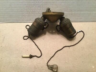 Vintage brass two socket pull chain small  light fixture
