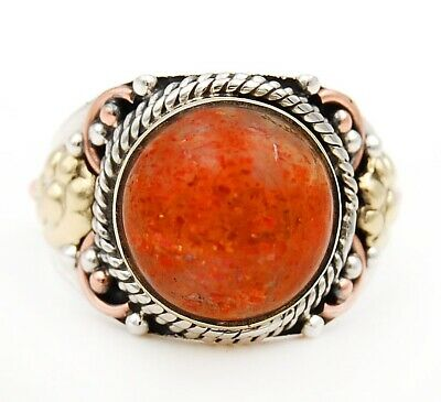 Three Tone Sun Stone 925 Solid Sterling Silver Ring Jewelry Sz 7 C30-7