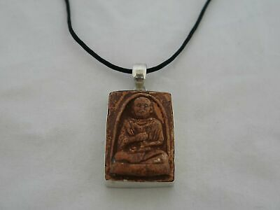 Old Clay & Sterling Silver Buddhist Pendant