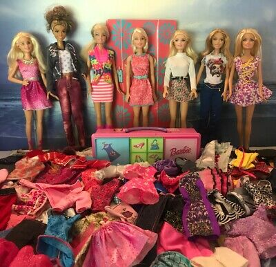 Lot Of 7 Barbie Dolls + Clothes + Accessories With Case, 1 Doll Is New On Card