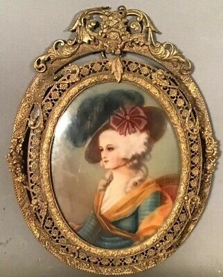 Ca.1910 Antique MINIATURE 18thC LADY PORTRAIT PAINTING Old BRASS ORMOLU Frame