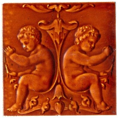 Original period antique Art Nouveau Majolica tile cherubs terracota