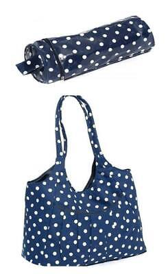 Matching Blue Tote Bag (Cotton) and Vinyl Navy Spotted Yarn & Needle Holder