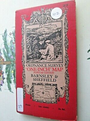 Ordnance Survey Contoured map No 37 Barnsley & Sheffield  cloth 1928 - VGC