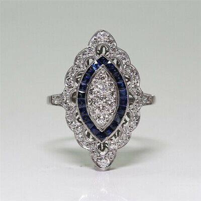 Vintage Art Deco Silver Blue White Sapphire Wedding Jewelry Ring Size 9