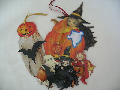 Spooky Lot of 3 Vintage HALLOWEEN Die-Cut DECORATIONS 1940 Images REPRODUCTION