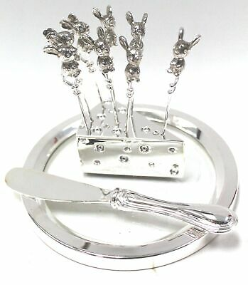 Silver Plated CHEESE CUTLERY SERVING SET, Plate & Miniature Mouse Skewers - W35