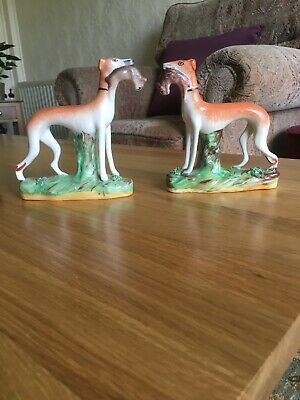 A Good Antique Pair Of Small Staffordshire Pottery Greyhounds With Rabbit/Hares