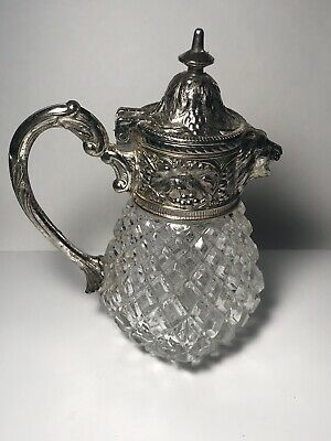 """Mid century Glass & silver plated Syrup Honey Dispenser pitcher Lion Head 5 ½"""" T"""