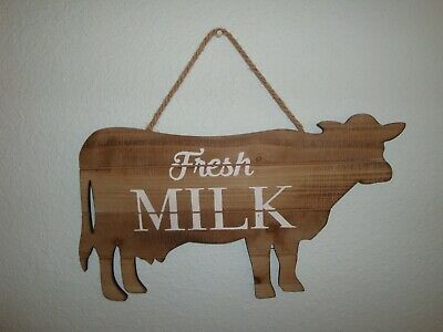 New Wooden Cow Shaped Plaque/Sign-Fresh Milk-Farmhouse Decor-Ranch-Dairy