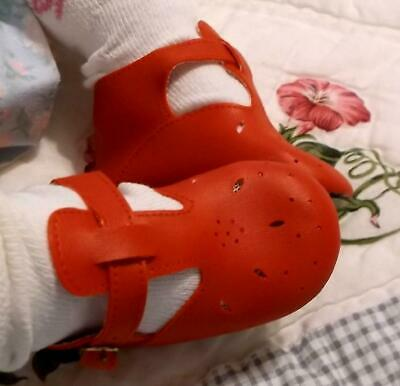 """Doll Shoes 3 1/2"""" Red T-Strap Gold Buckles Cute On Toddler, New, Reborn Doll"""