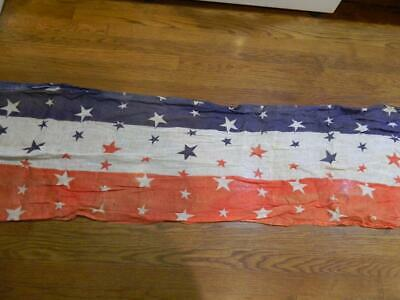 Long Red, White & Blue Gauze Fabric Stars & Stripes Bunting Antique